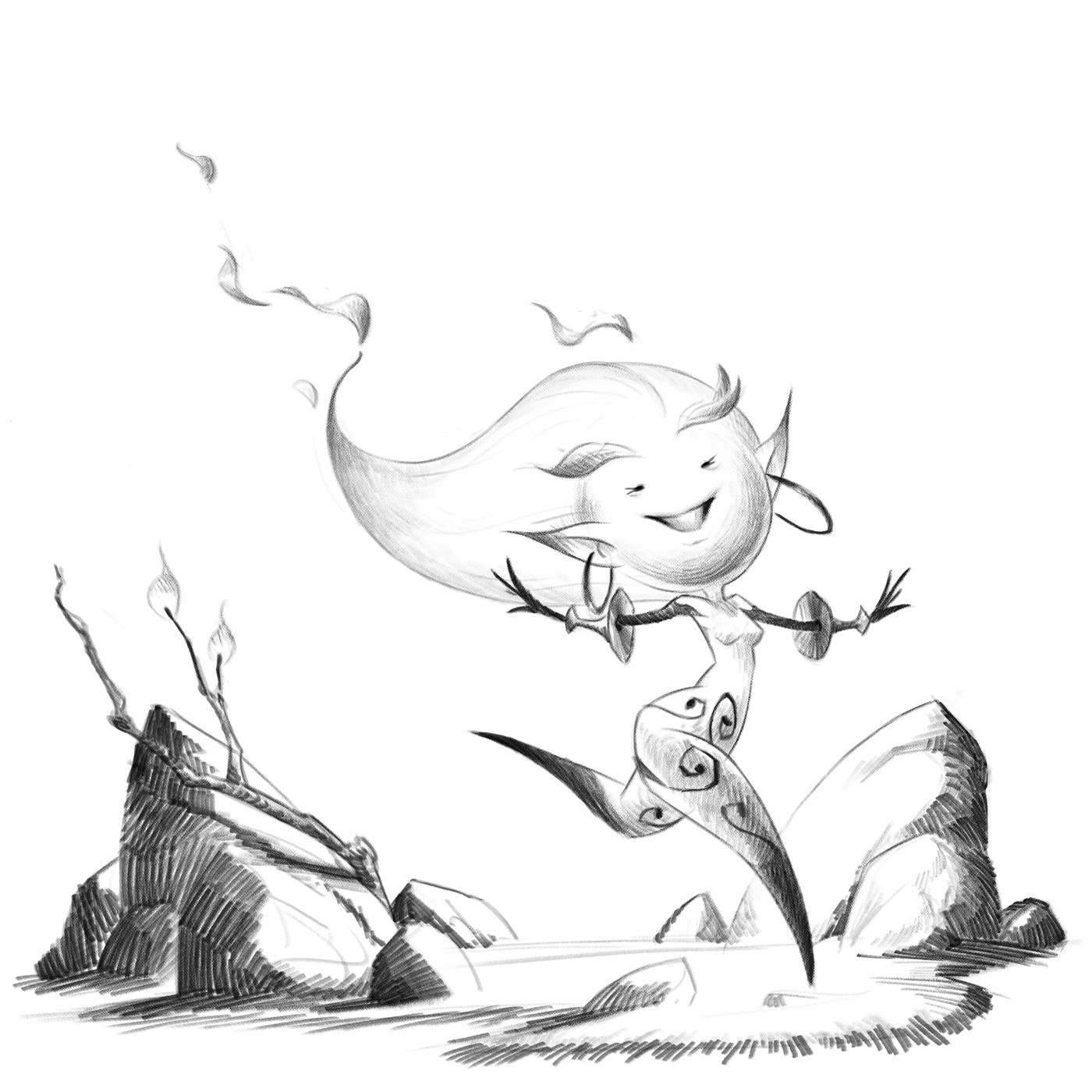 initial drawing for the Dancing Flame