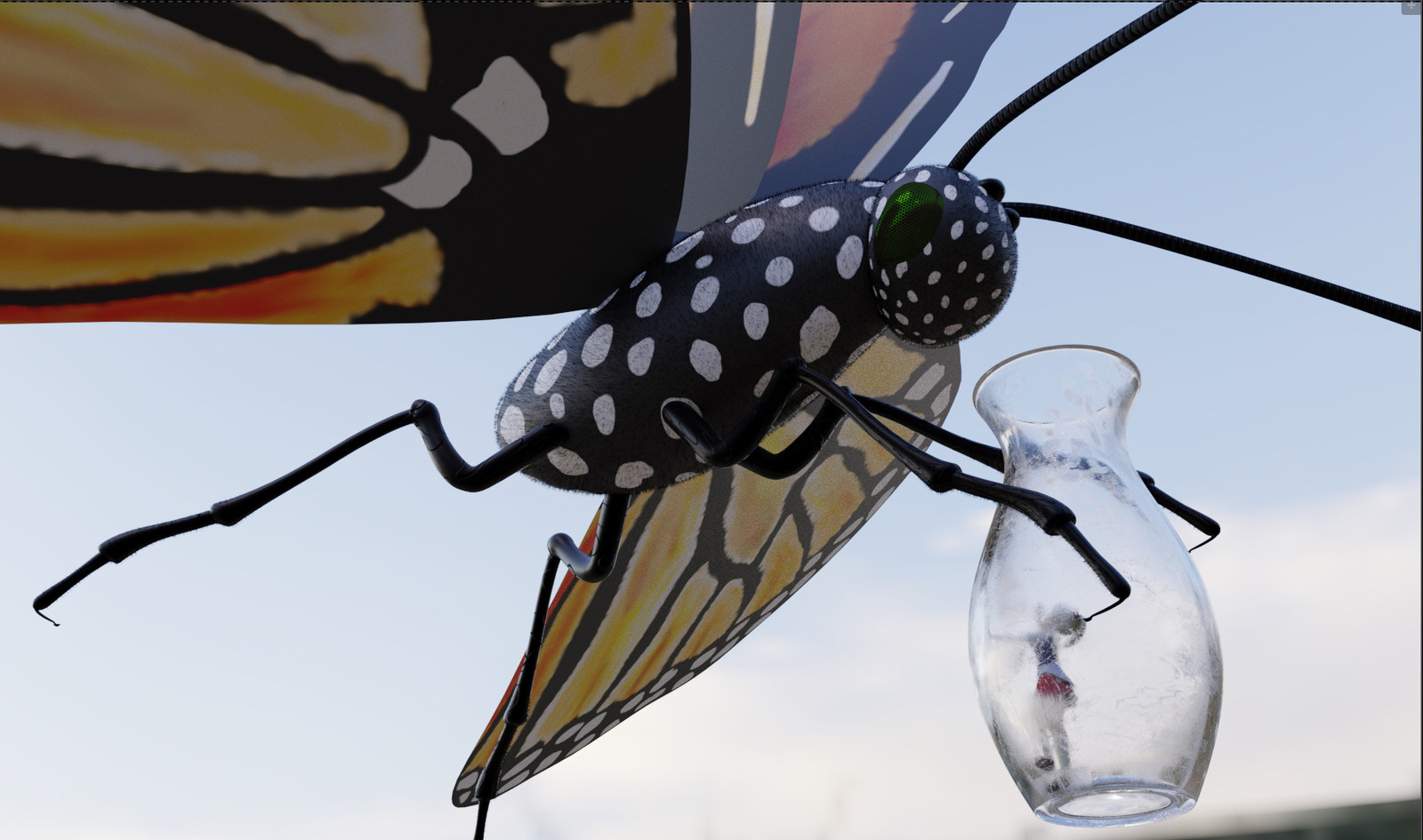 Reverse reality. The irony of a butterfly catching and putting a human in a jar is enthralling to me!