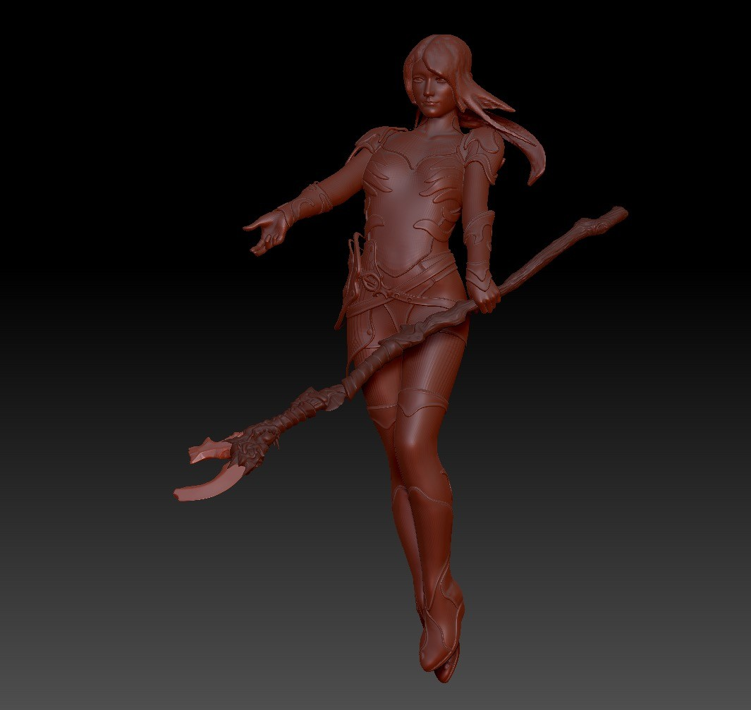 The figure is based on a DAZ3D generic figure that was imported into Zbrush.