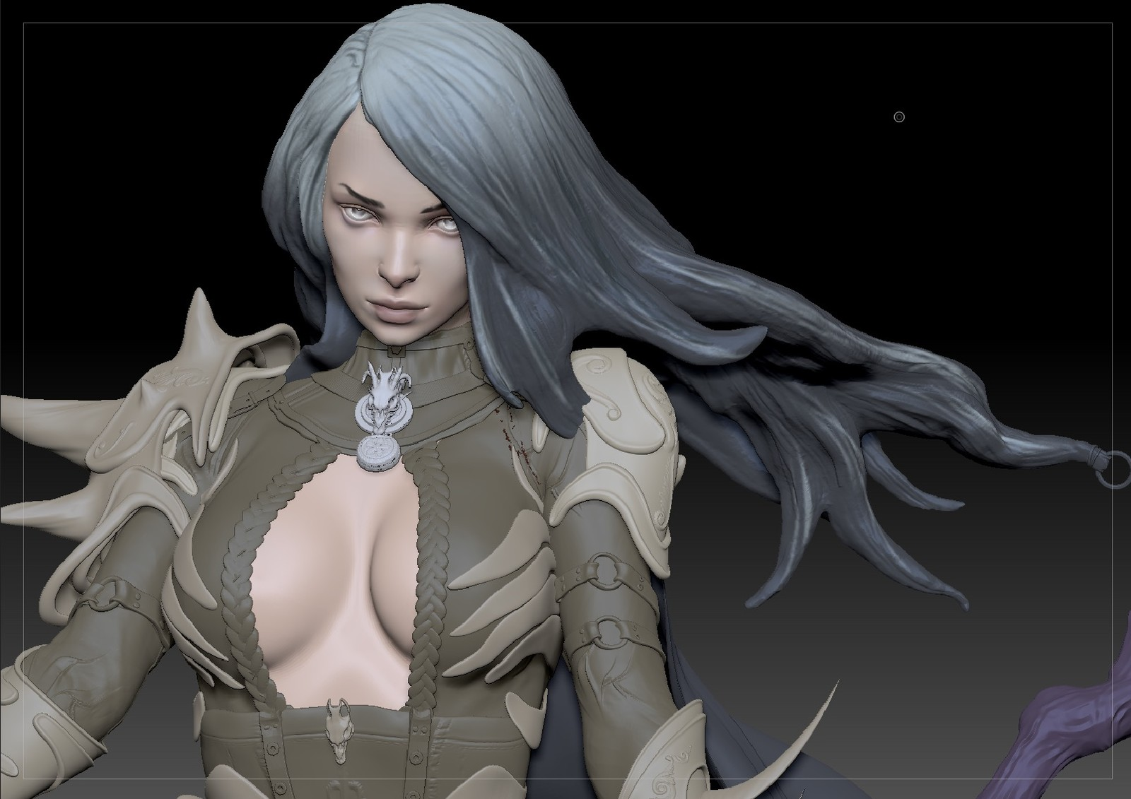 This was one of the first steps of polypainting the model. The stare of this screenshot was a critical milestone in the process as this became a look I was going for in the final version as well.