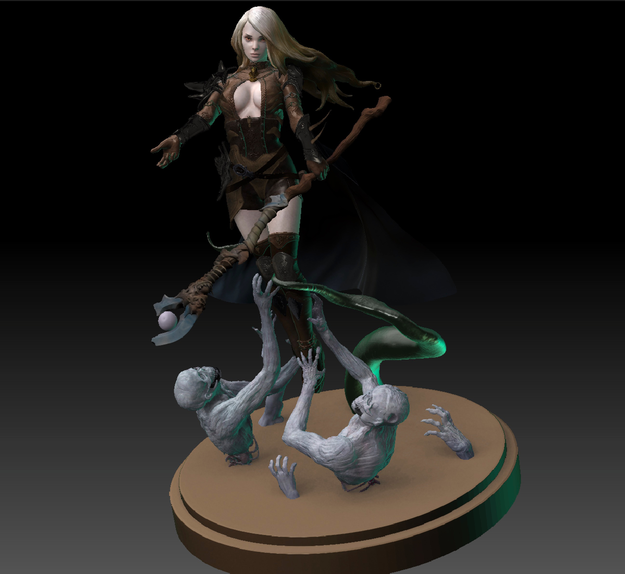 adding the lower part with the zombies and creatures to the figure as also a base for 3d-printing later.