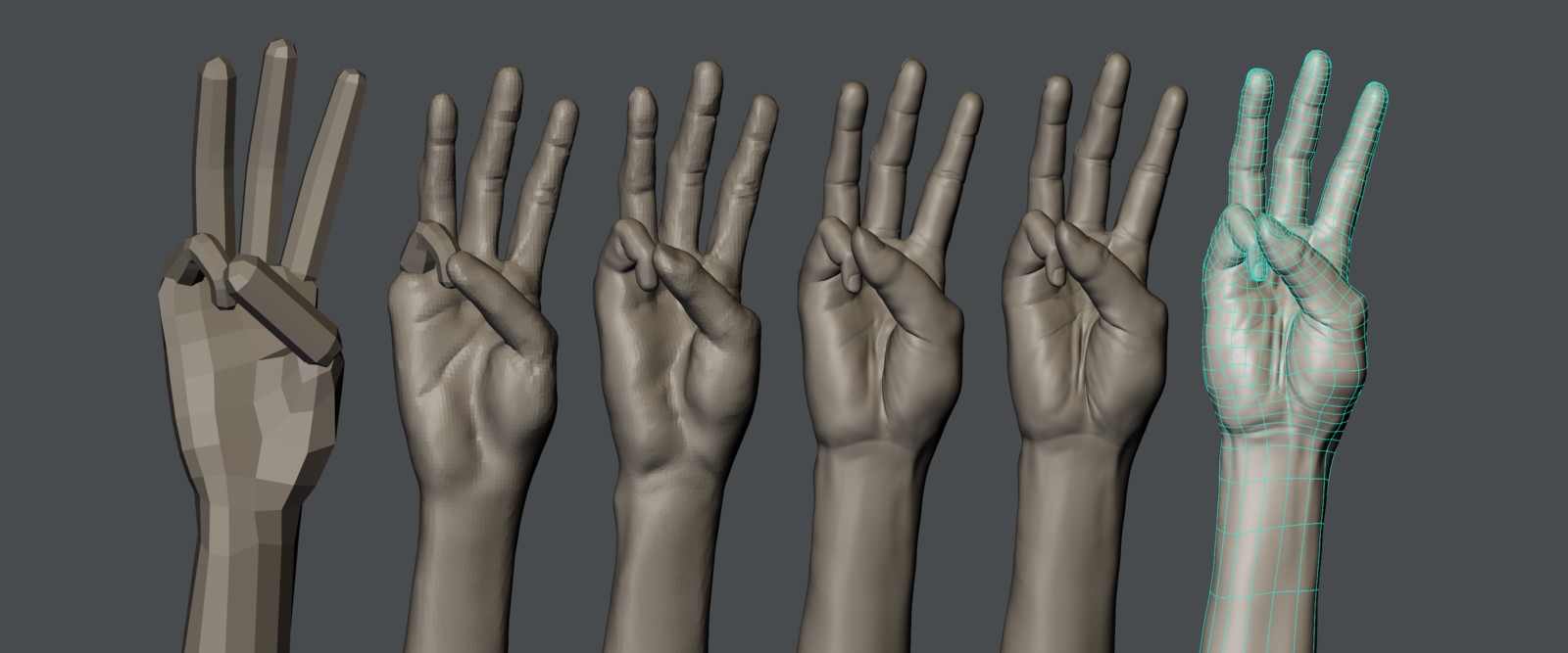 Progress image. Using the skin modifier to create fingers and using remeshing and dynotopology.