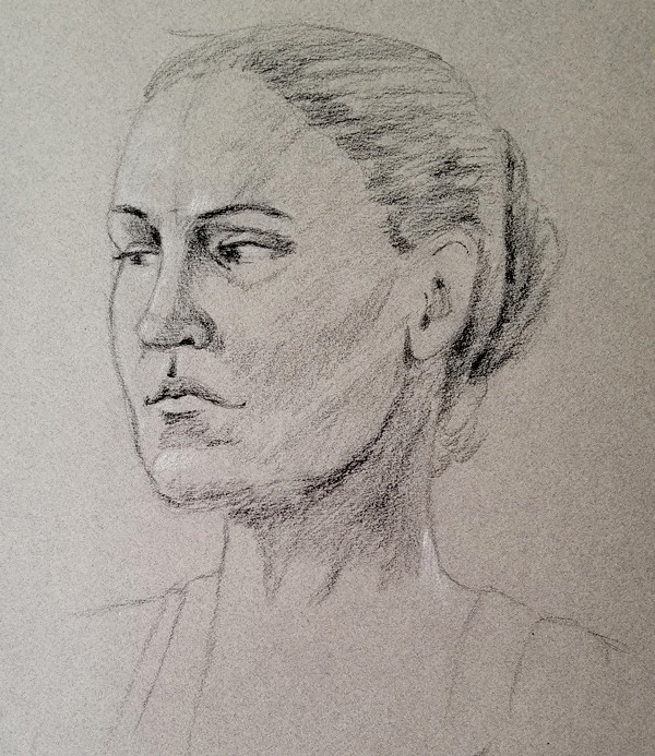 Drawing from a model with charcoal on Canson paper. The portrait was done in 10-15 minutes.