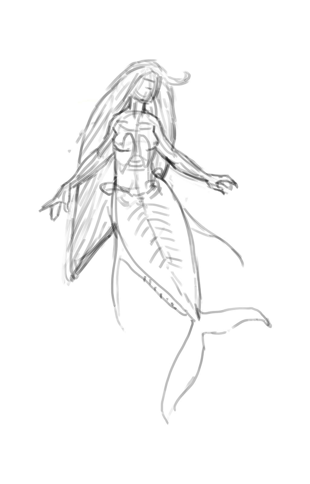 Ghost Fish Mermaid sketch