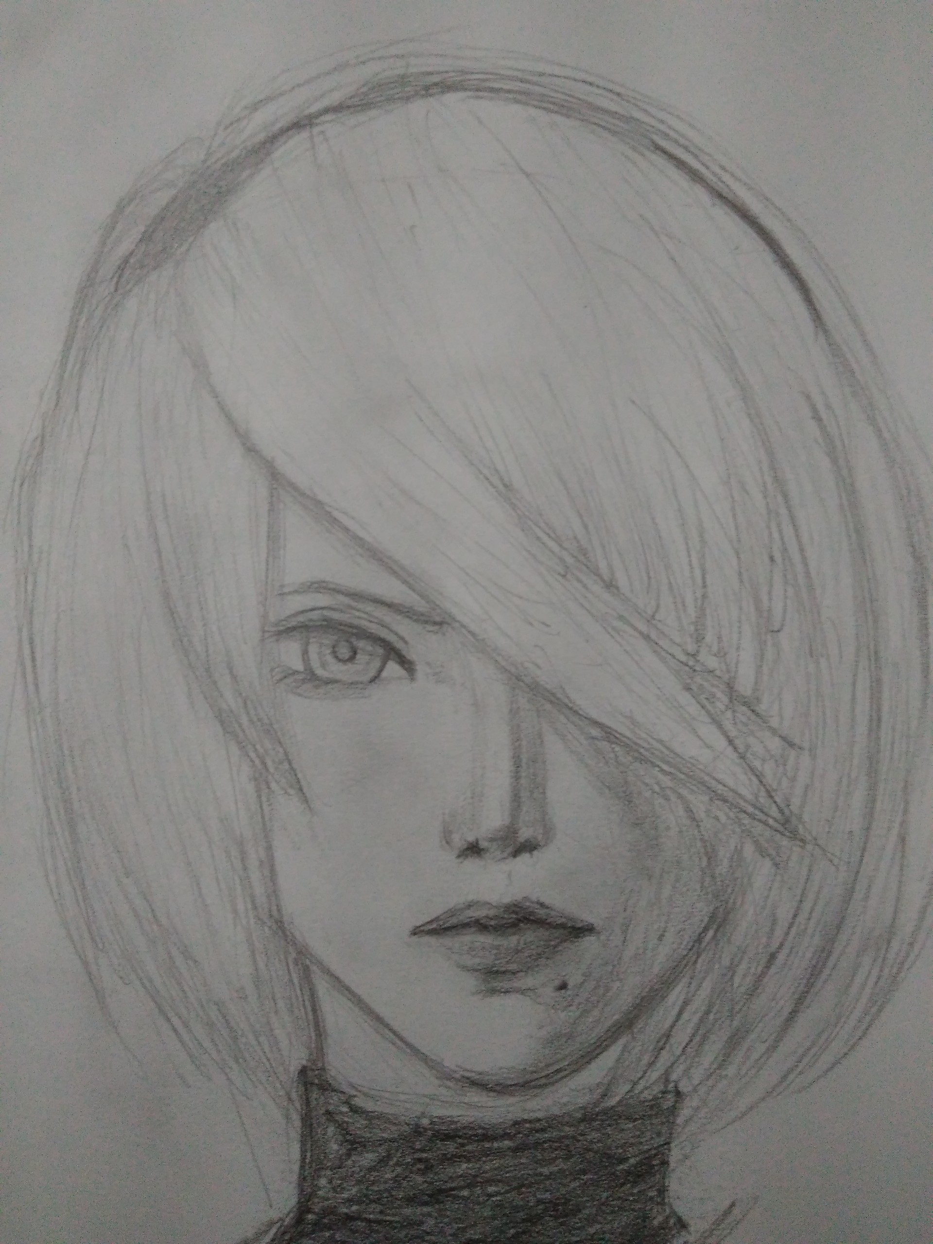 jyou white semi realistic face drawings