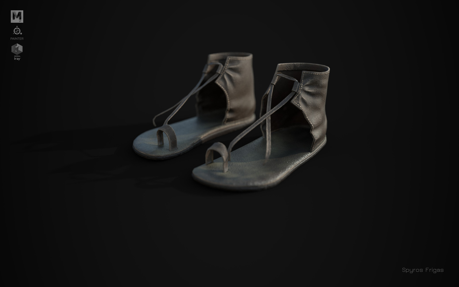 Used leather sandals (Mayan era)