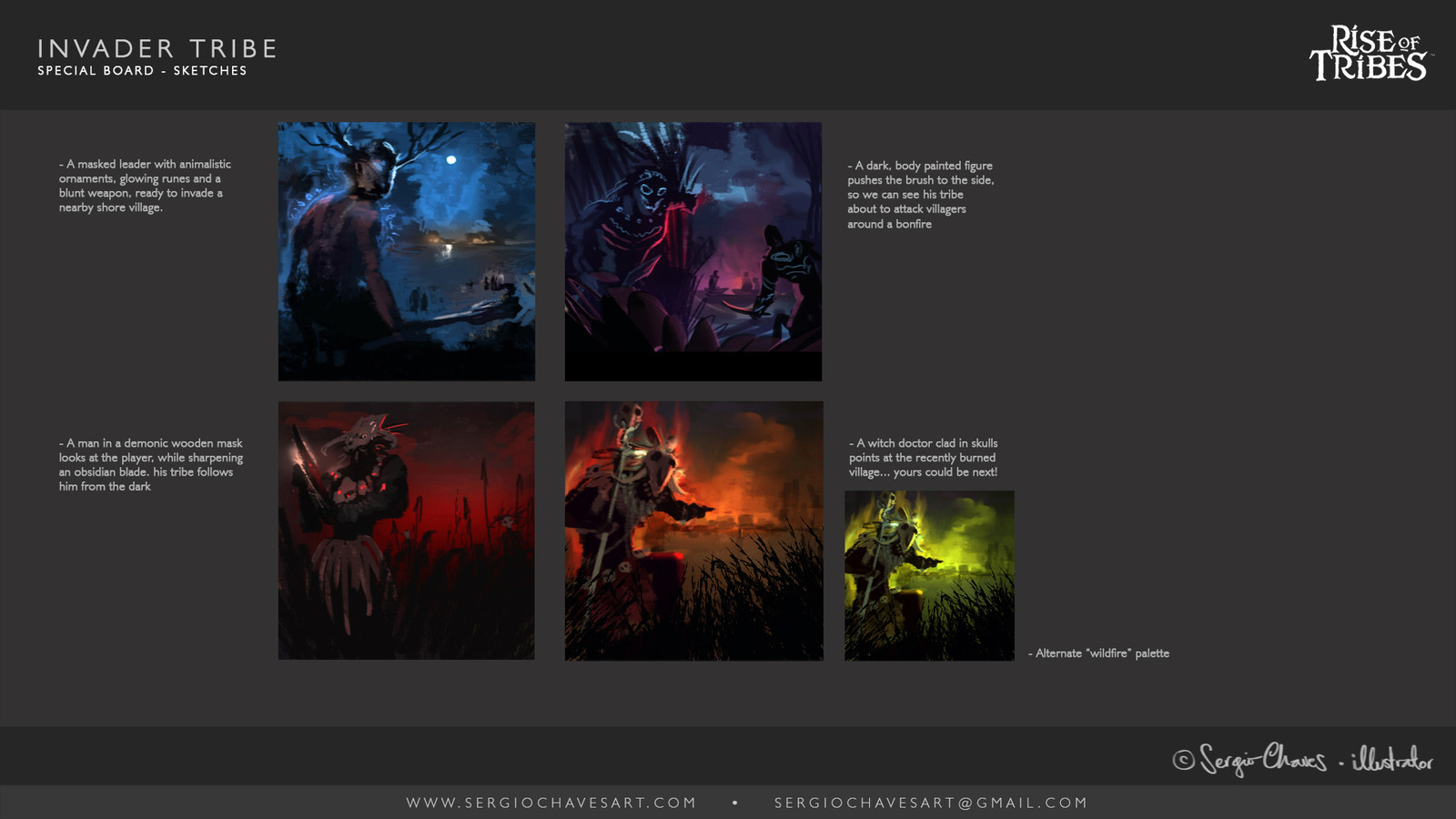 I provide the client with various thumbnails accompanied by a short, narrative caption about the content. I like to start the exploration from color and brushwork, and letting that guide my drawing afterwards.