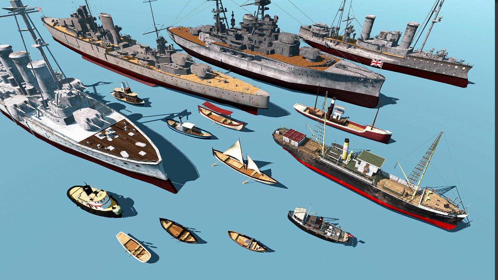 Sea Vehicles in 1919's Bosphorus, Istanbul. SS Bandırma, Kartal Steamboat, Civil transport ships, fisher boats & allied battleships ( HMS Ramillies, HMS Ajax, U.S.S Cassini, Gergios Averof ( Θ/Κ Γεώργιος Αβέρωφ ) )
