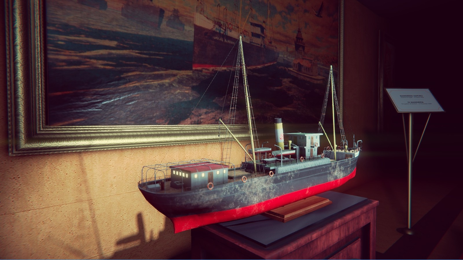 To increase the exhibition atmosphere, and smoothly connect to the next scene, i placed the model of the SS bandırma front of the painting