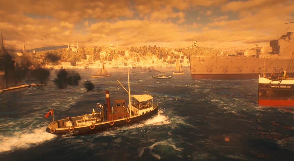 Kartal Steamboat, SS Bandırma  & an allied battleship  in 1919's Bosphorus, Istanbul