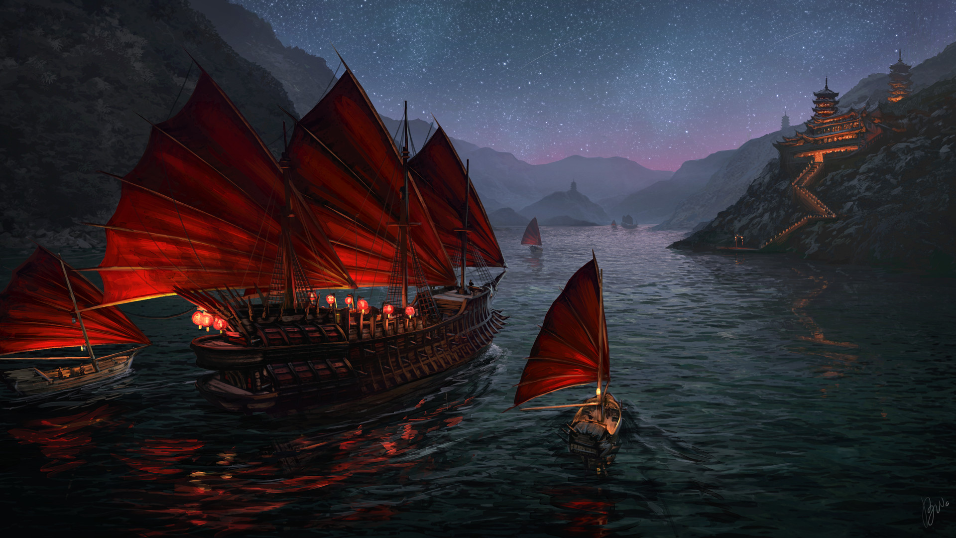Zhèng Shì and her fleet of junks travelling through the night
