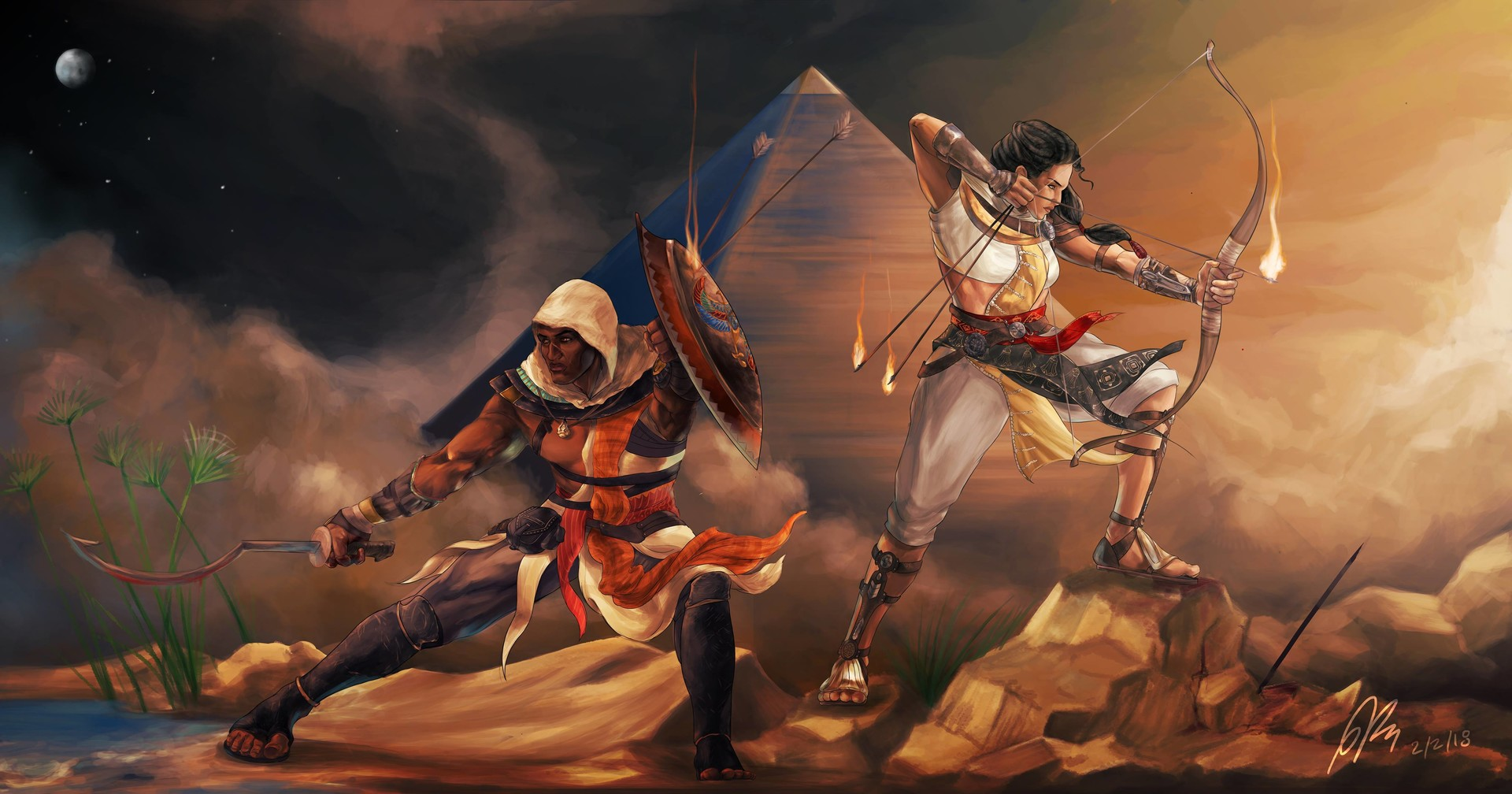 Artstation Bayek And Aya Paul Kassab