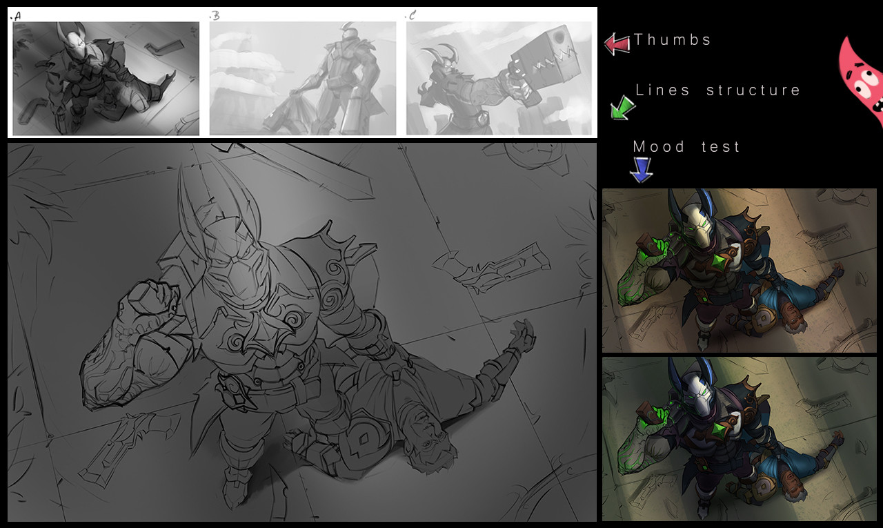 Some thumbs, linework and color tests.