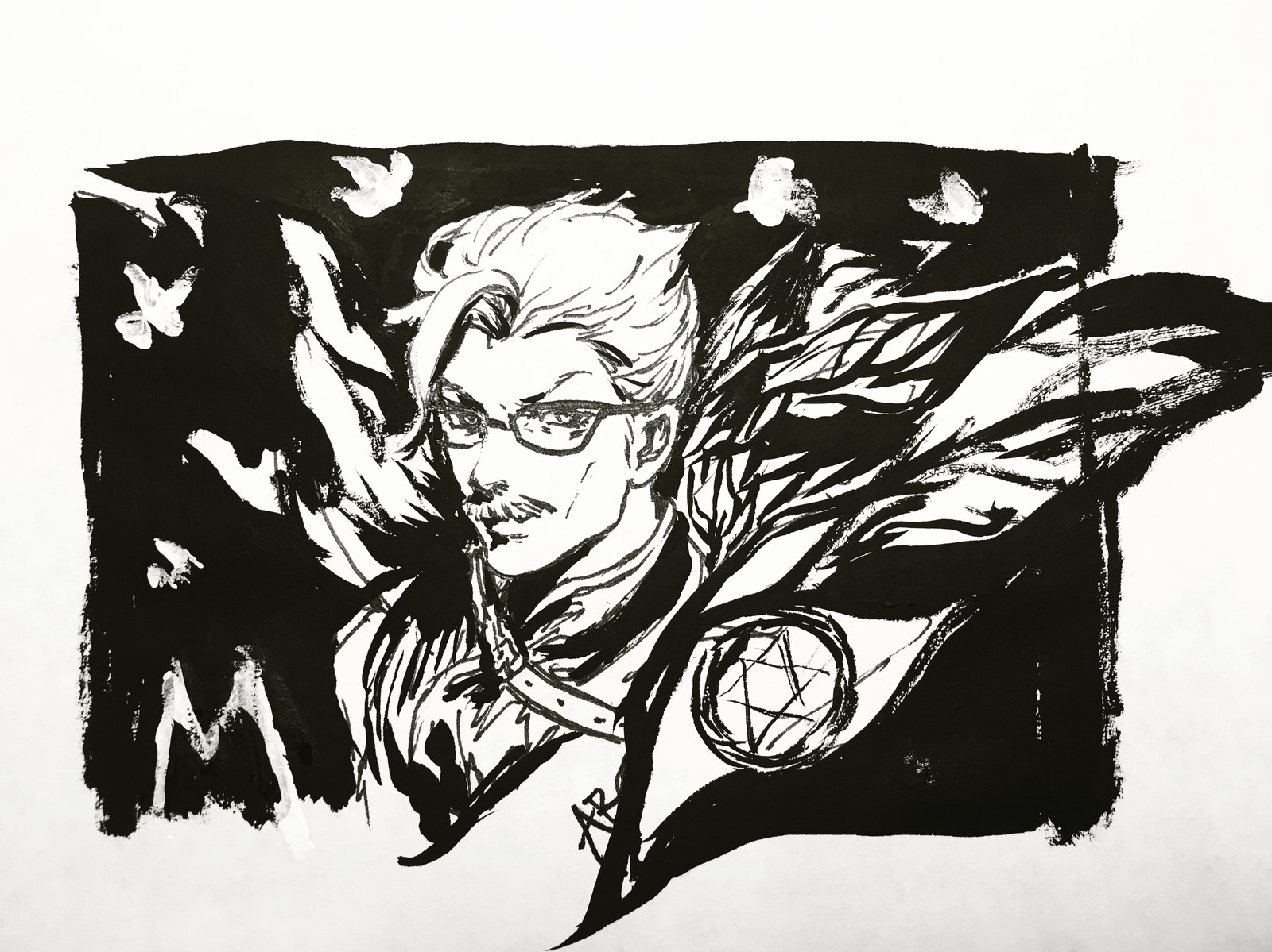 Ink doodling of Moriarty(FGO)