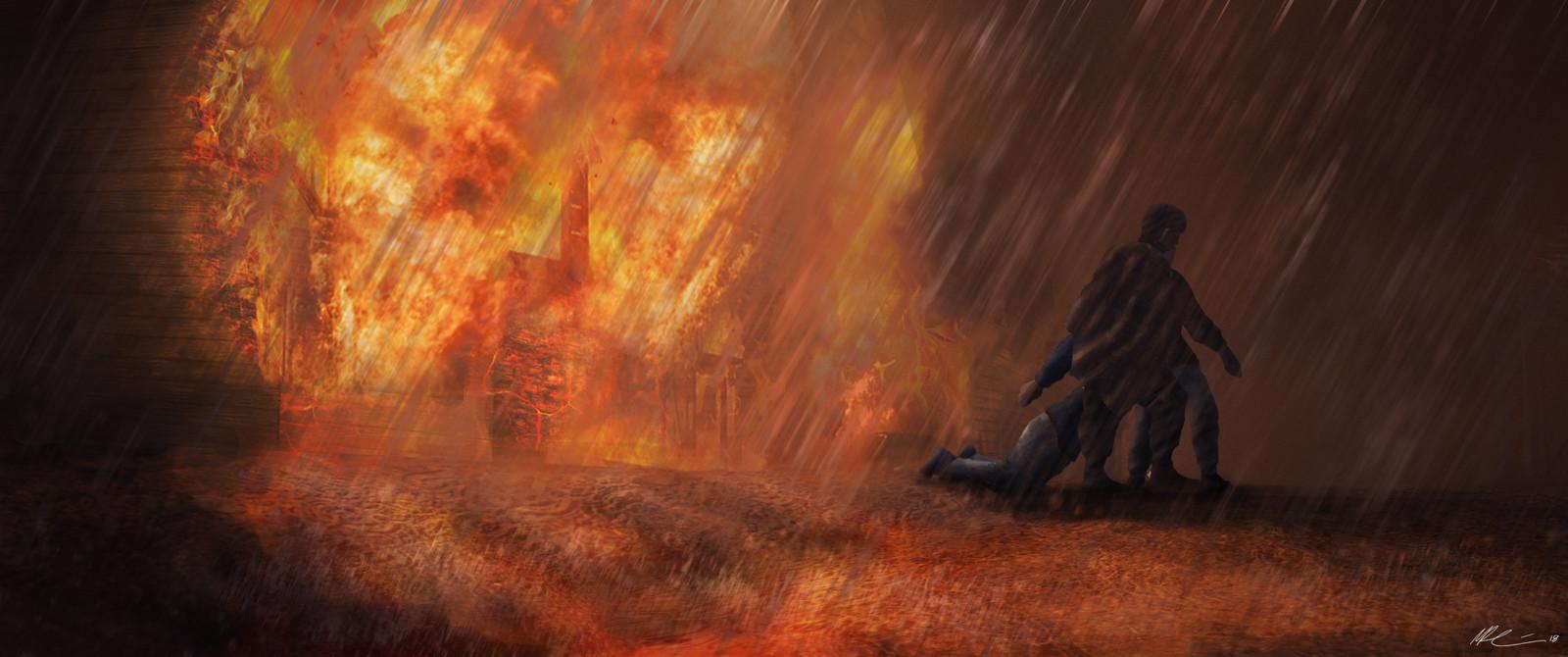 Fiery street Concept art by Matias Raassina