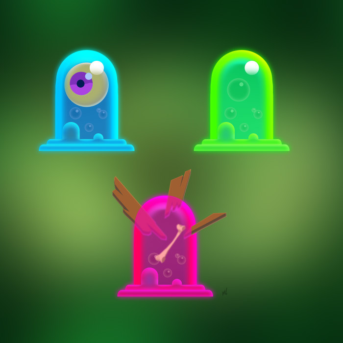 Fun slime studies based on the pill-shaped heads from the orc and human.