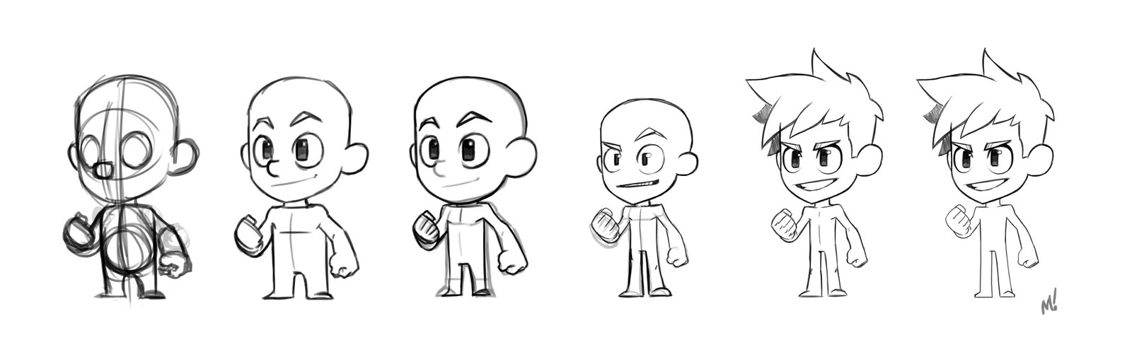 I shifted to ignoring the box for a moment and trying to find a pleasing generic body type. This show the separate layers in a PSD that would normally be stacked on top of each other.  This is a way I sometimes slowly mold a base character.