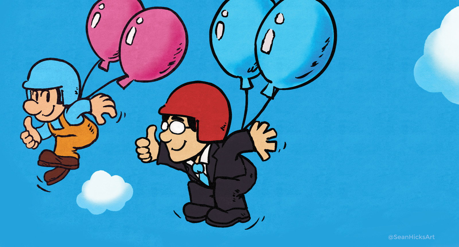 One of the first game Iwata worked on: Balloon Fight. I wanted to capture the style and essence of the original Balloon Fight artwork seen on box art or cartridges. It was fun drawing Iwata in this style.