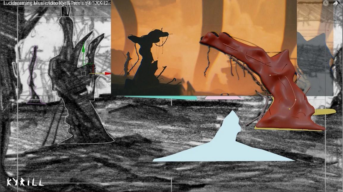 Counterclockwise: Sketch, spline, zbrush model, screencap.