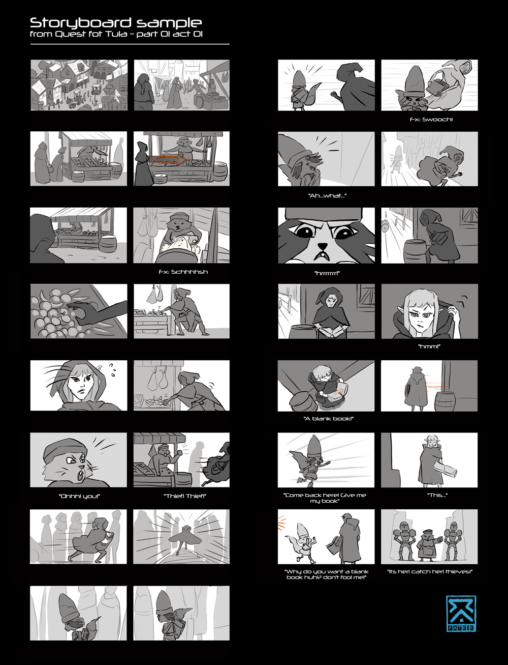 Storyboard sample from Quest for Tula