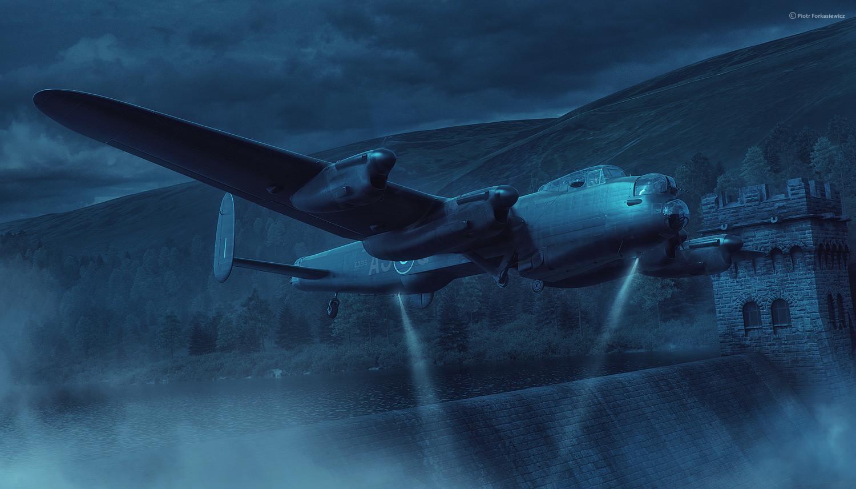 LancasterED915 AJ-Q during Chastise op. preparations over Derwent Reservoir. Pilot F/L J.C. McCarthy; Flight Engineer Sgt W.G. Radcliffe; Navigator P/O D.A. MacLean; Wireless Operator F/S L. Eaton; Bomb Aimer Sgt G.L. Johnson; Front Gunner Sgt R. Batson;
