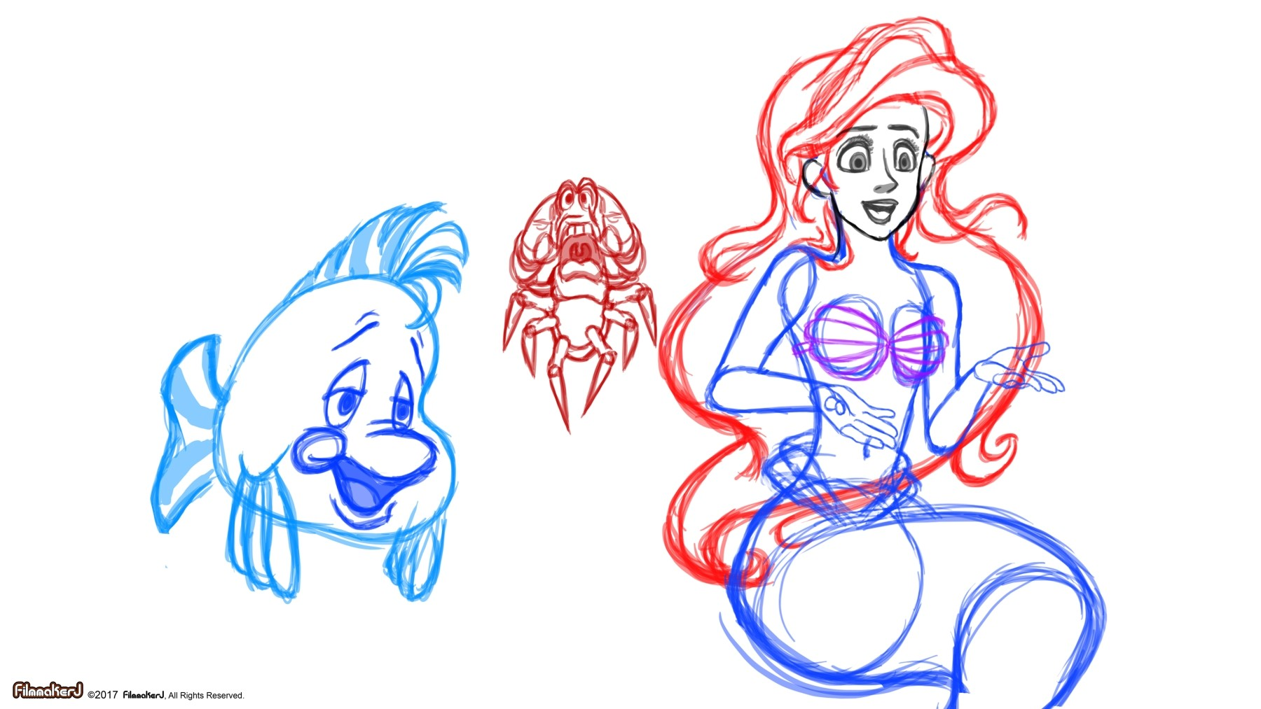Little Mermaid Character Drawings