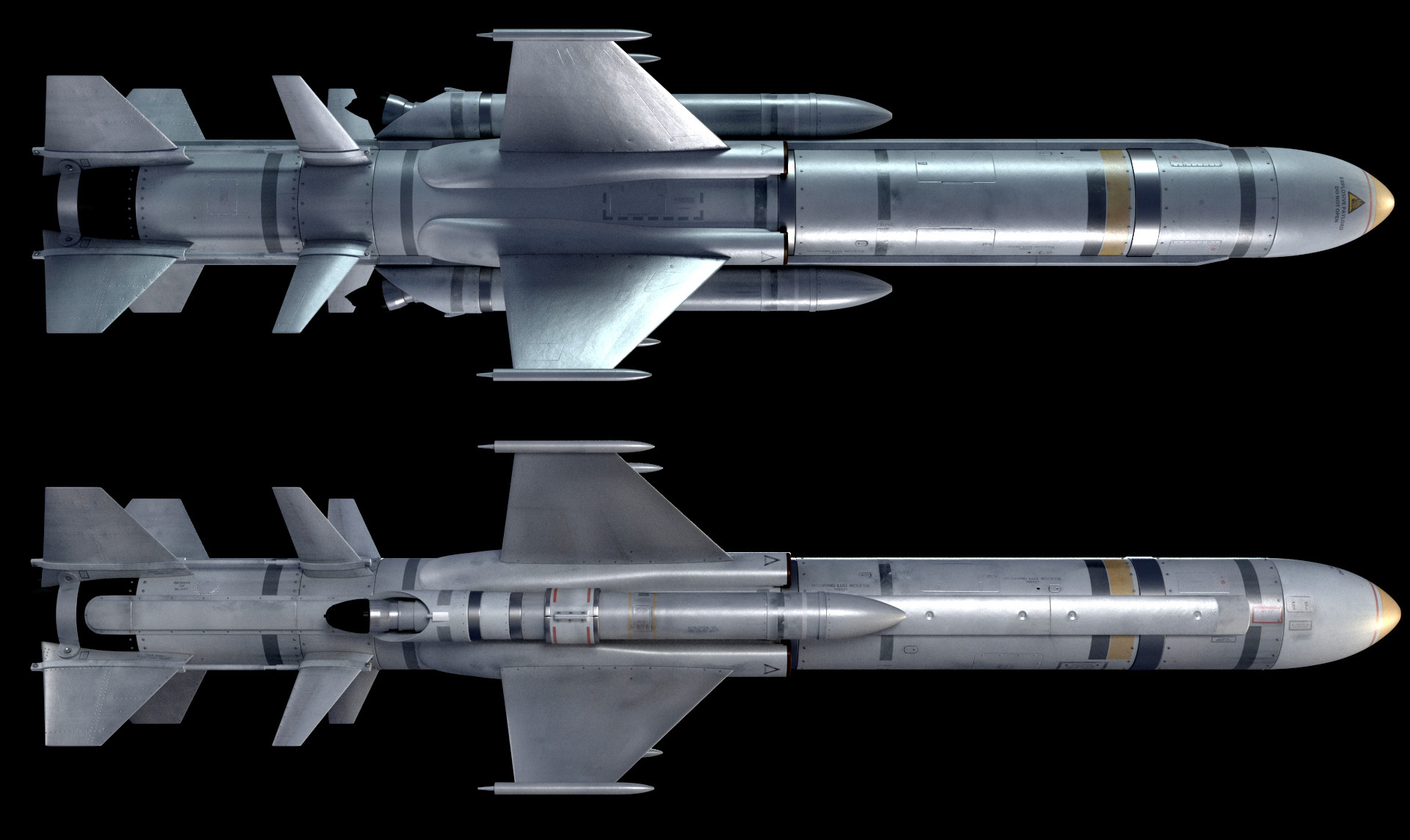 Top and side view.  Not an overly difficult or complex model, but it was a lot of fun to be able to make a quick rocket.