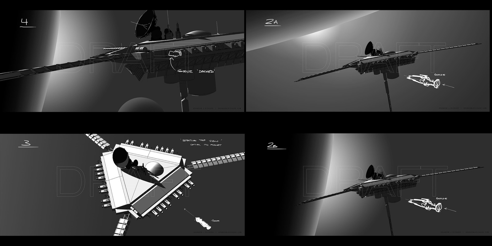 Hybrid composition 'sketches' being as fast as possible using SketchUp and photoshop. Even the most basic shadows from sketchup in this case help to create the intended drama.