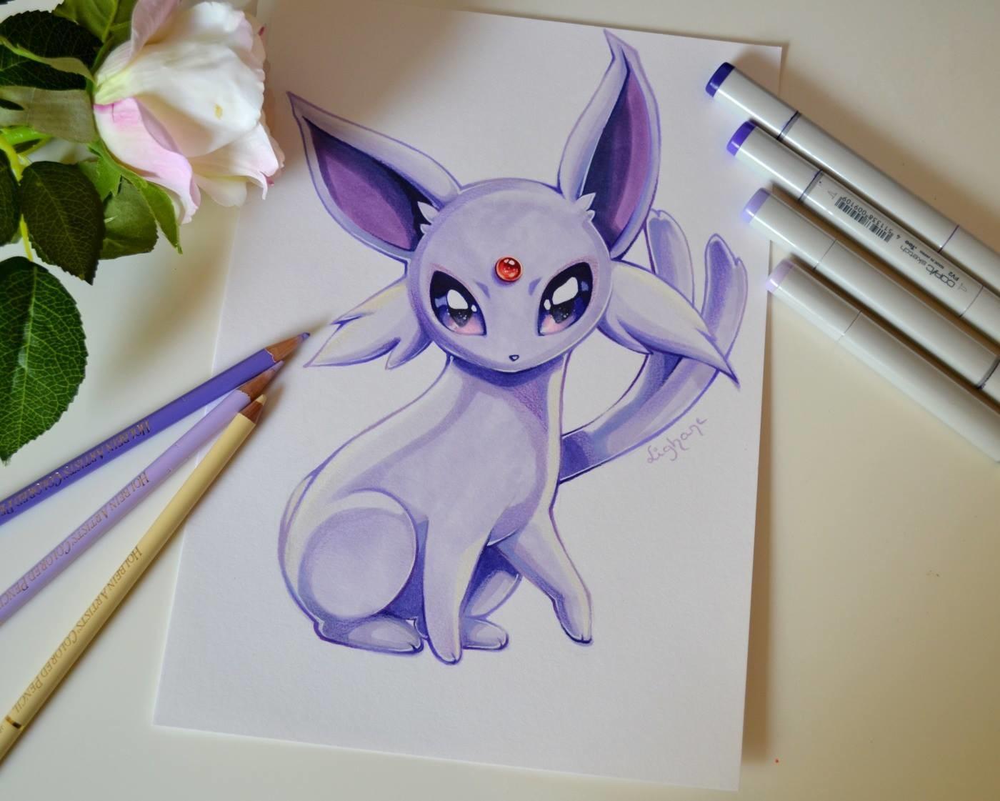 Рисунки аниме животных цветные