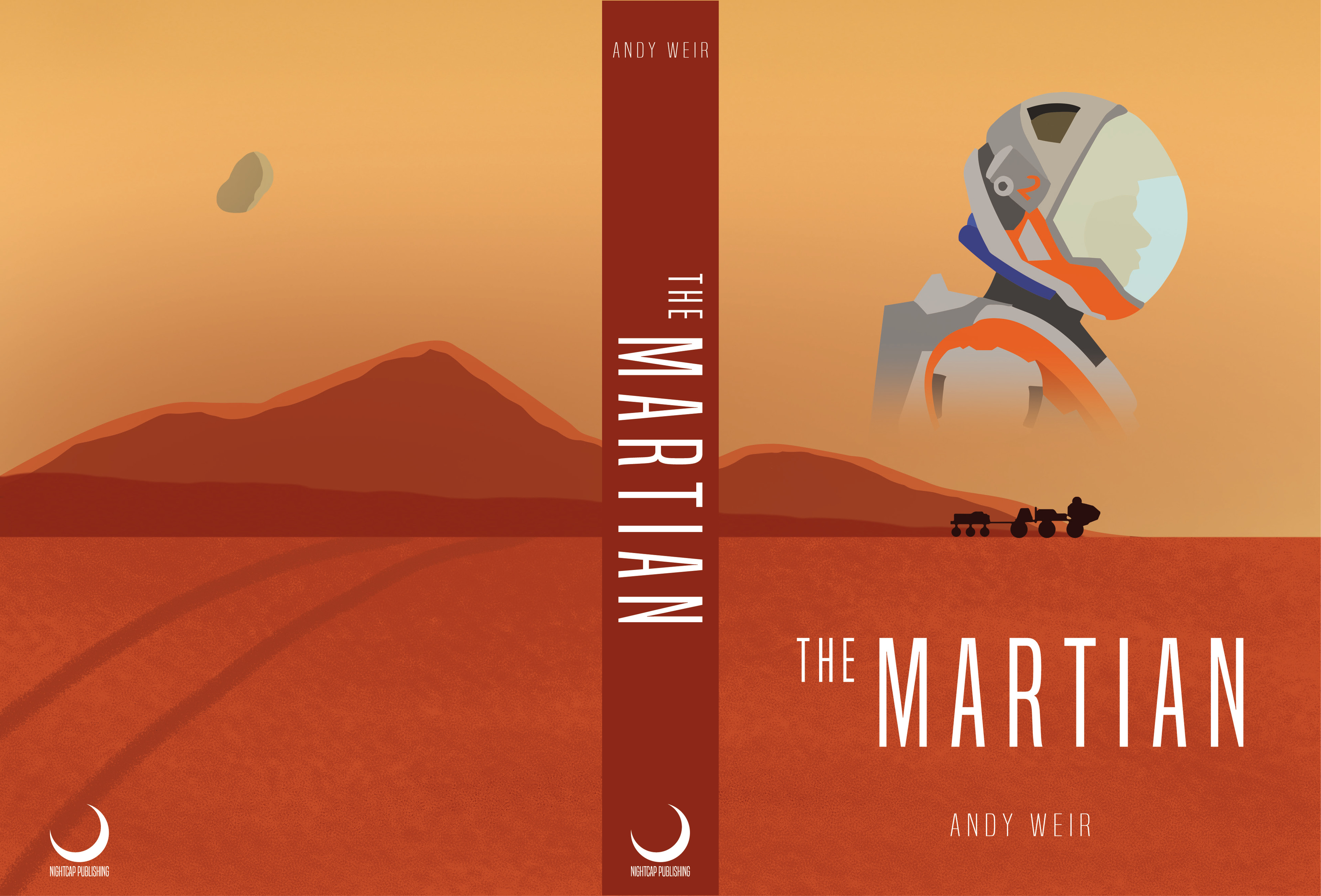 The finished version, featuring the spine and text. The publisher was a fictional one given to us within the brief.