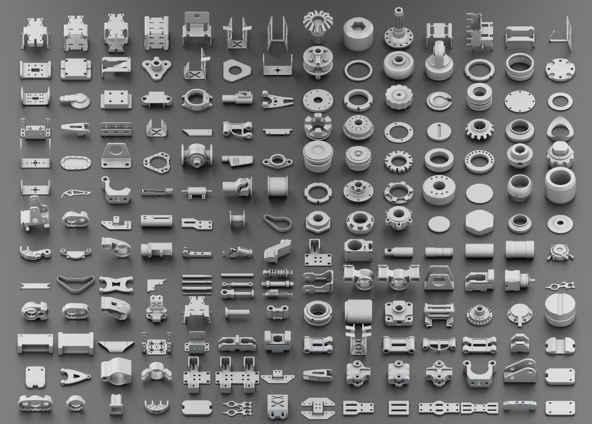 FREE Hard Surface KitBash by Oleg Ushenok - 3DCoat Exchange Library