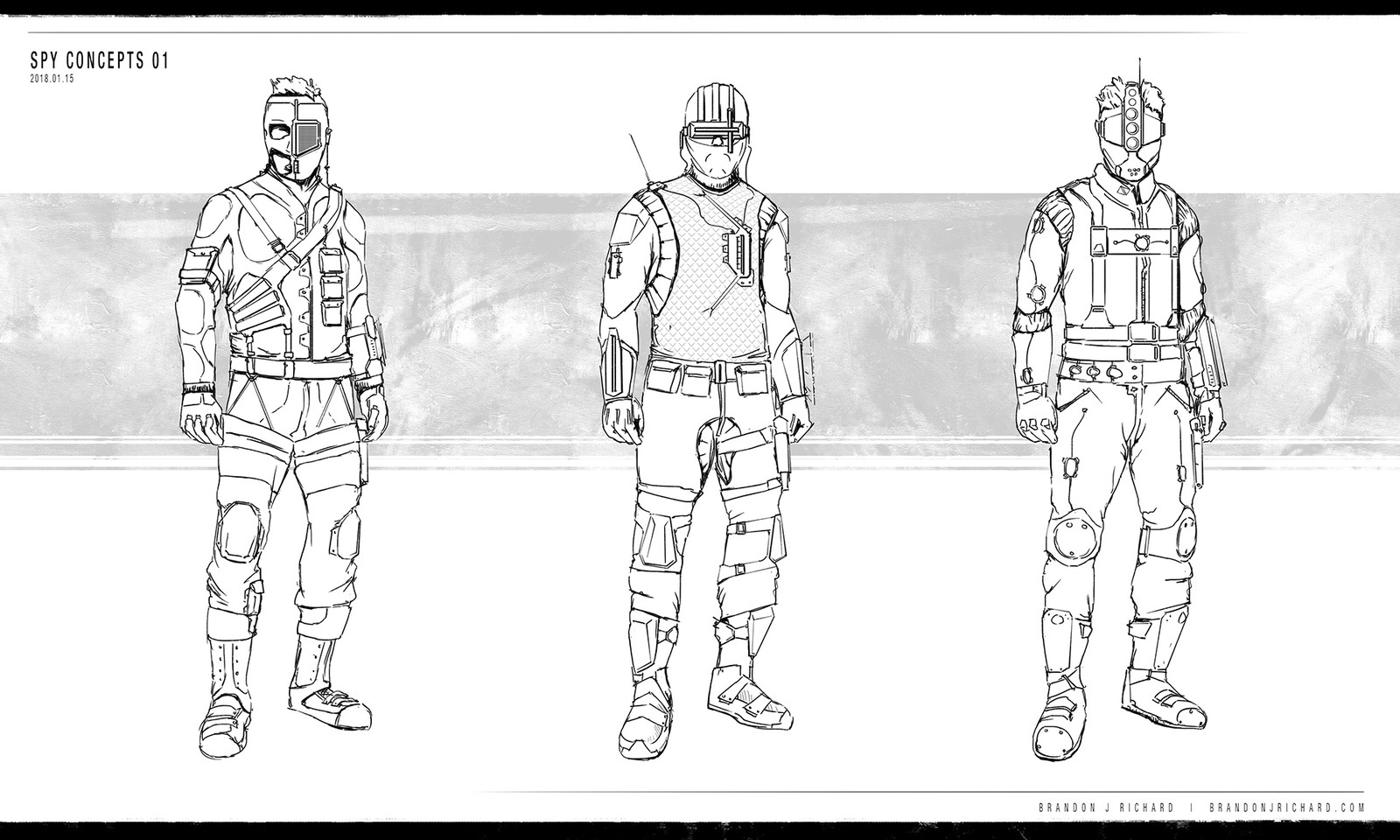 Spy concept sketches to define the look.