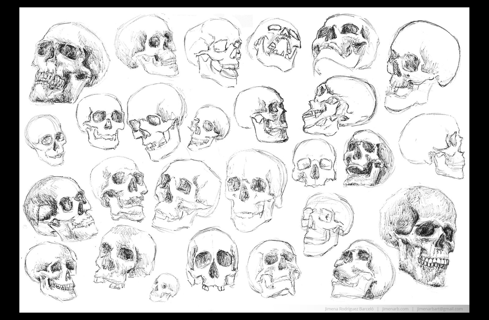 Sketches to practice anatomy and proportions of the skull with just a pen, paper, and references. Each skull takes approximately 2 to 10 minutes.