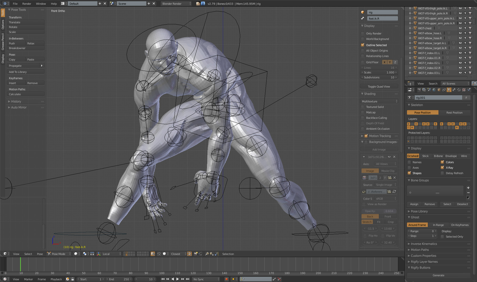 After having sketched the idea and established the proportions, by polygonally modelling  a basic model of man, not wanting to waste time creating a custom rigging for a biped goat model, rigging  and do some test pose