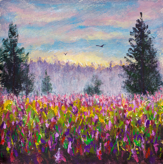 Artstation Flower Glade Field Of Purple Flowers Landscape