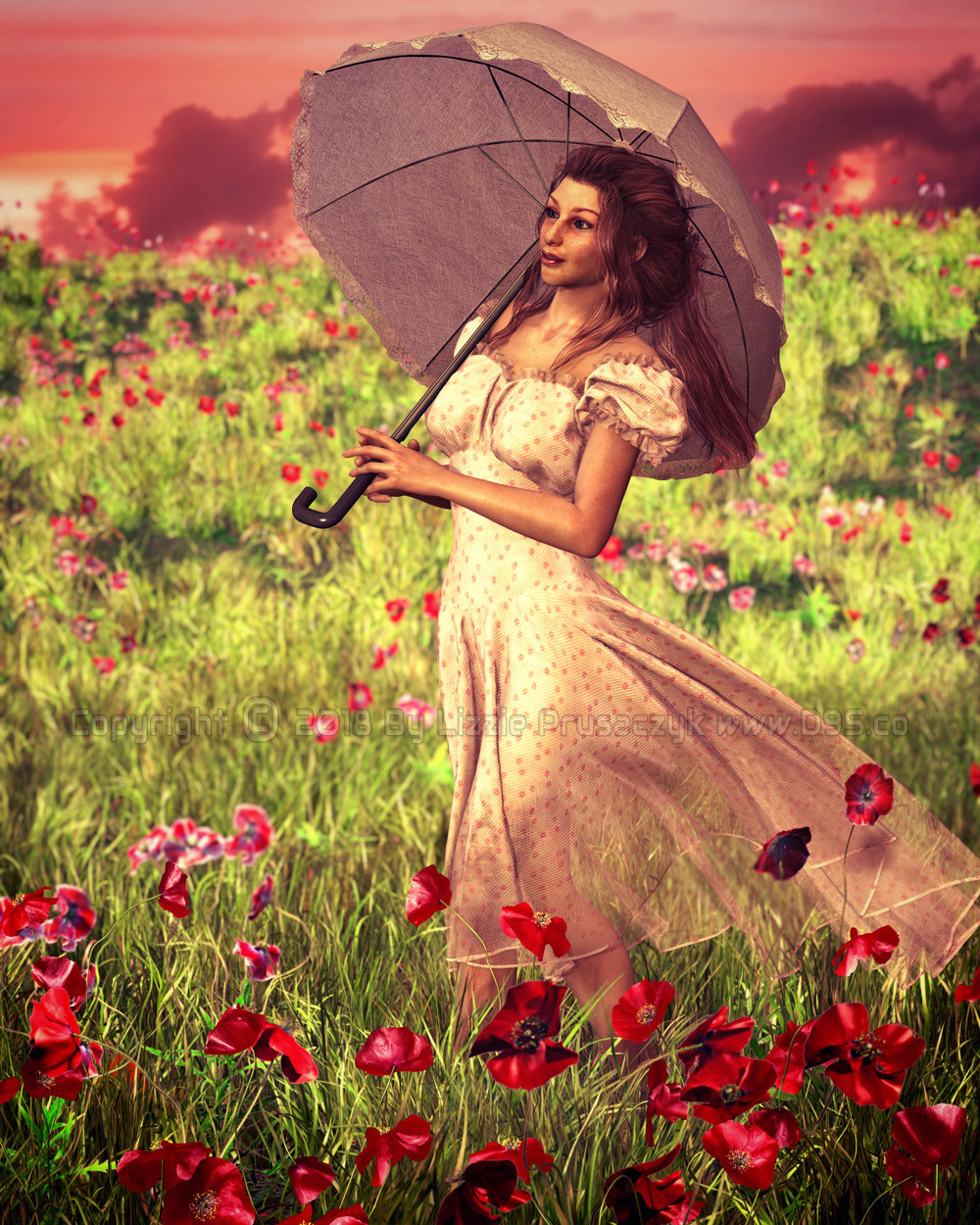 A young woman takes a leisurely walk through a field of poppies at sunset.
