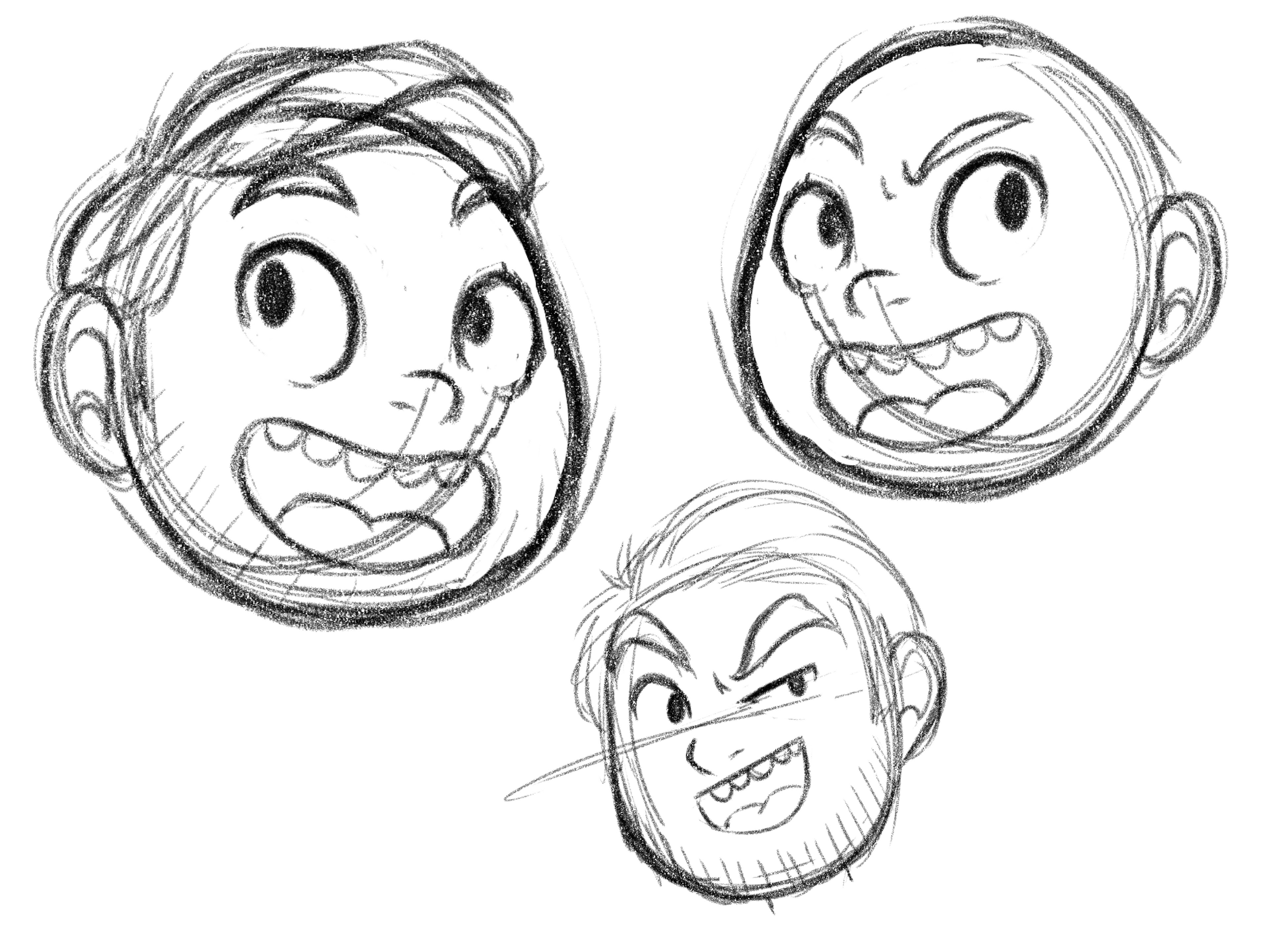 A few sketches from the early design process for the head icon.