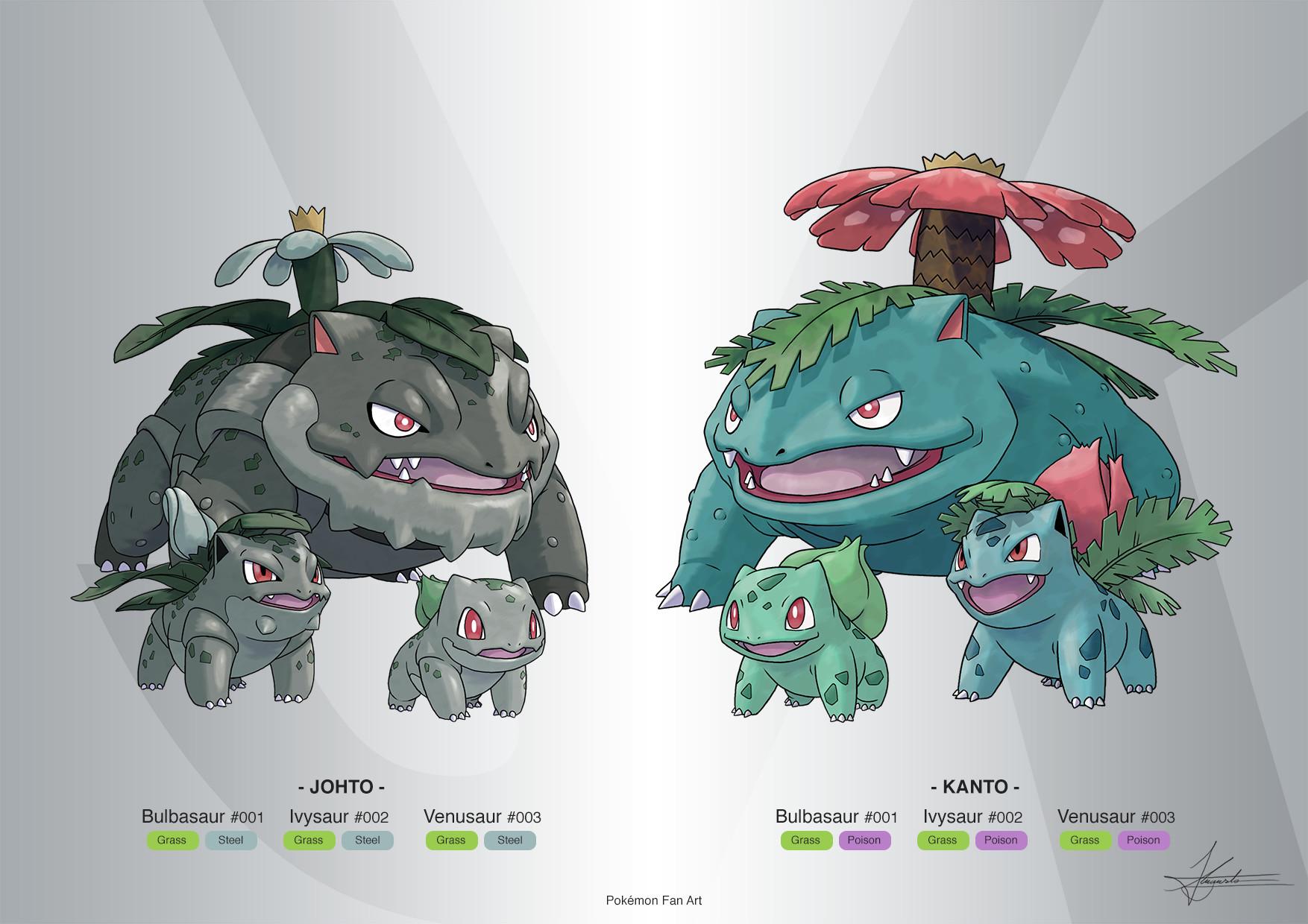 Artstation Pokémon Fan Art Bulbasaurs Line Kanto Johto Forms