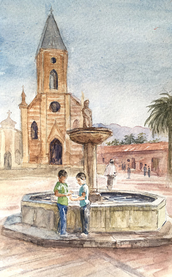 Robert baird colombian sketchbook village fountain watercolour