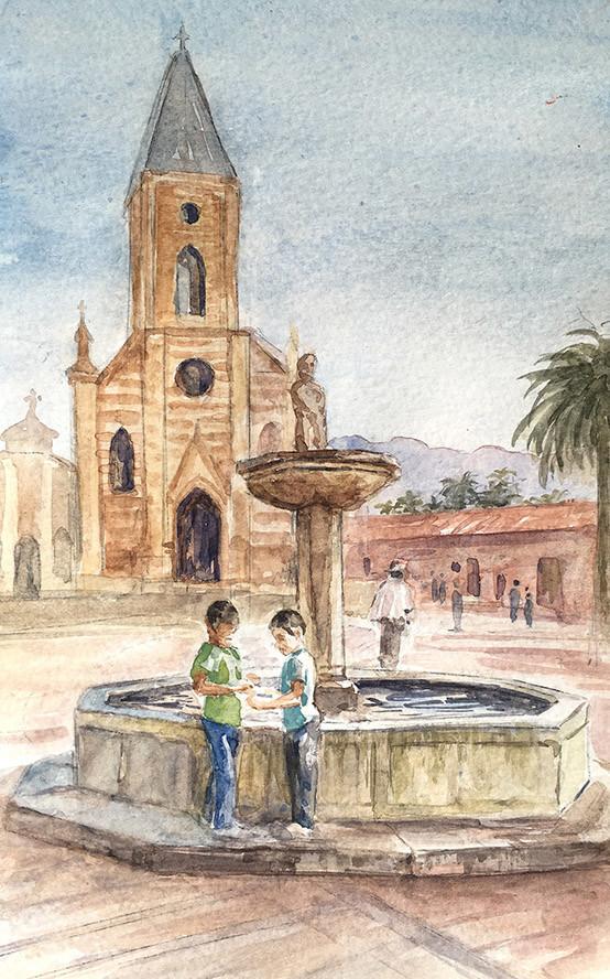 Robert baird colombian sketchbook village fountain watercolour
