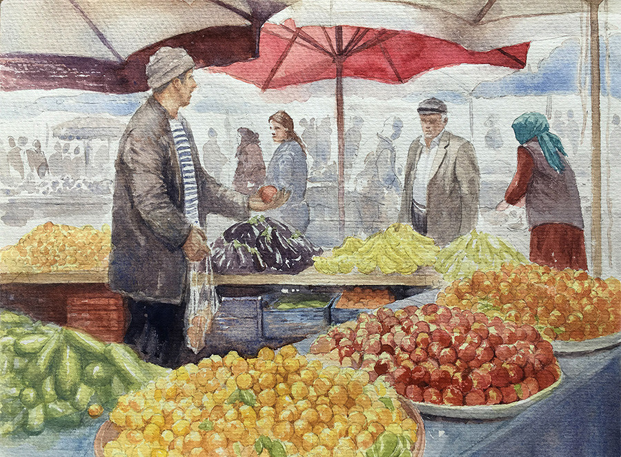 Robert baird istanbul fruit markets watercolour
