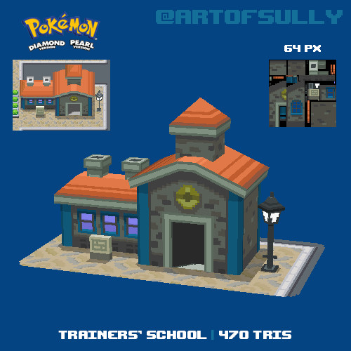 3D Pixel-Art Trainers' School (Pokemon D/P Fanart)