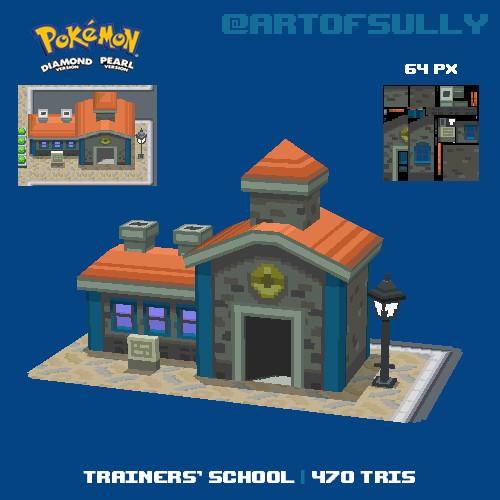 3D Pixel-Art Trainers' School (Pokemon D/P Fanart)