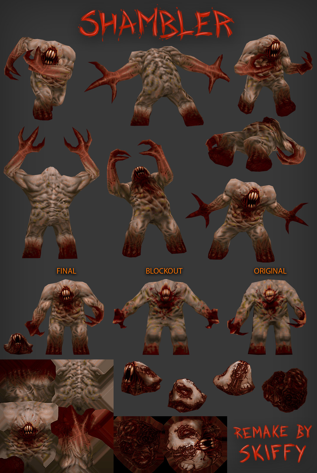Released the beast. Shows texture flats and various stages of the project.