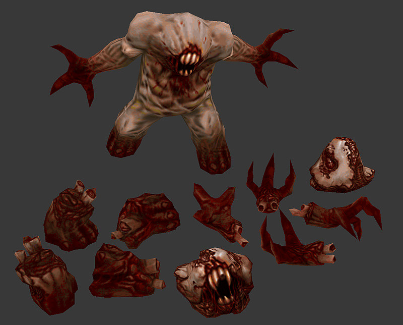 Giblets for an eldritch horror! He dies messy when hit with a rocket...