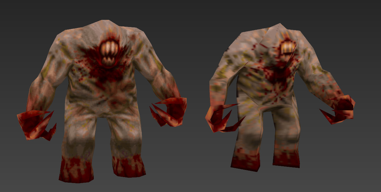 Blockout phase. On the right is the original Shambler... on the left was my first quick mesh edit. This was the start of madness that led to the final model.
