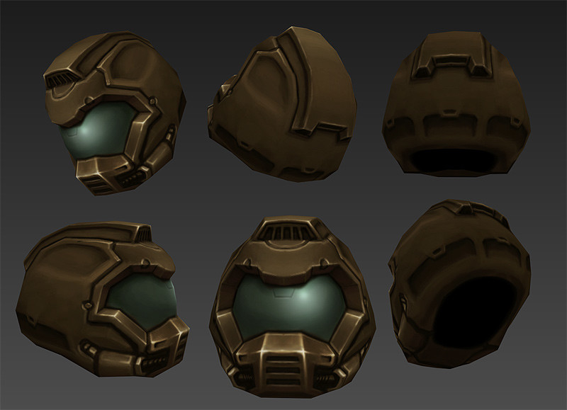 Base helmet source. I used the Quake 1 palette to pick my colors when painting in 3dcoat. Then I just did some color reduction tricks in Photoshop.