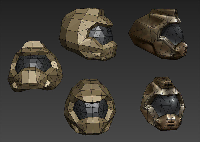 Blockout of the helmet inspired by the Quake3 Doom Marine helmet. Kinda fun to see how it compares to the final result.