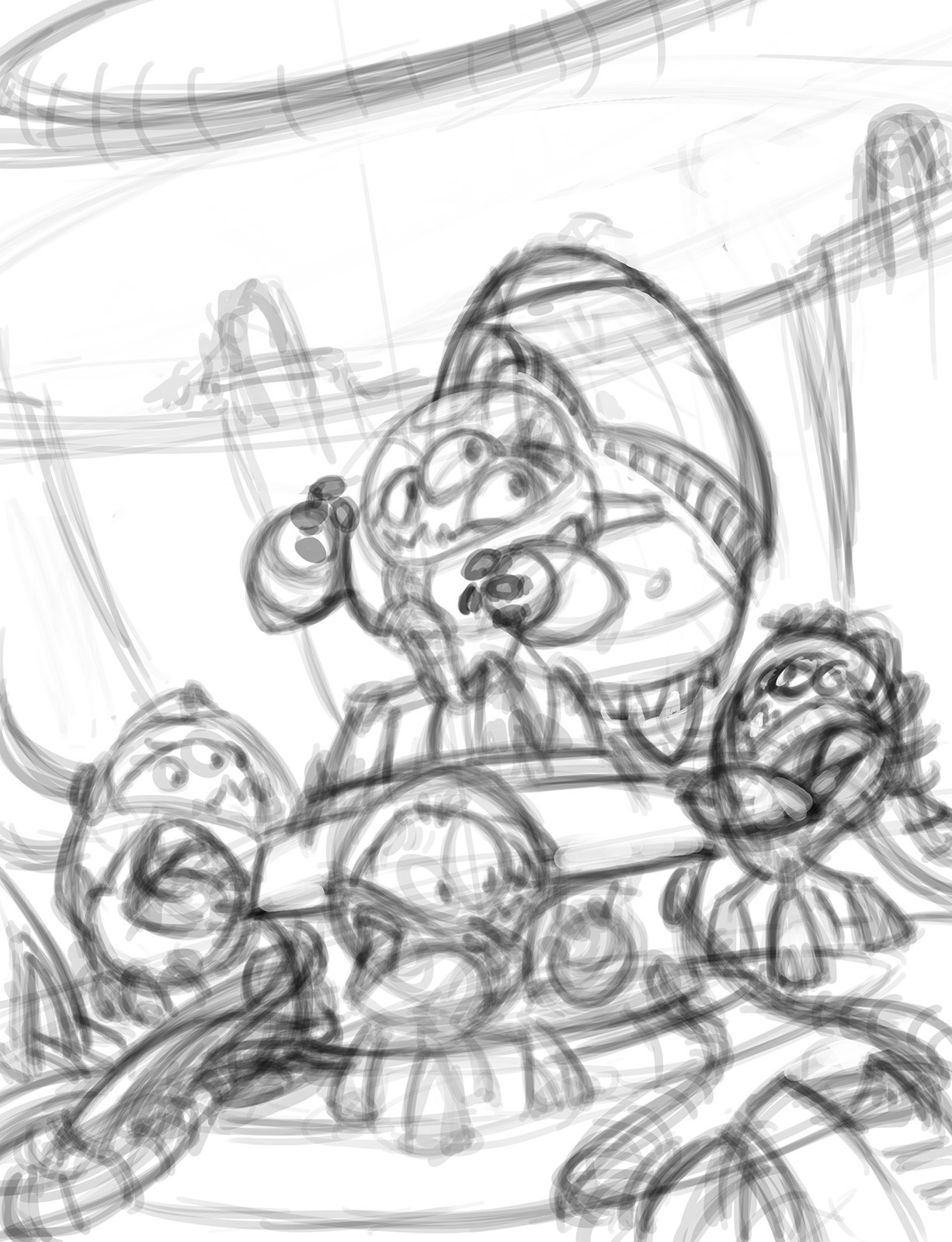 Cleaned up the scribbles with better composition and perspective that somewhat makes sense...