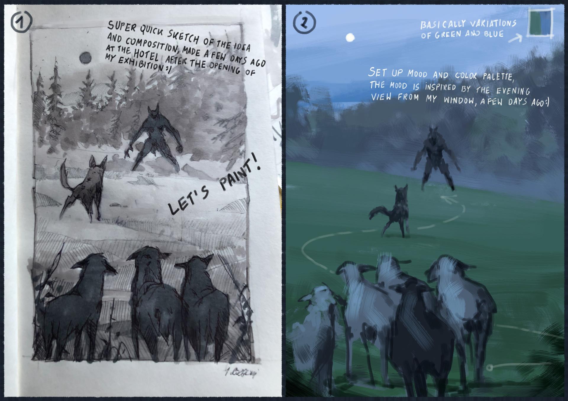 Jakub rozalski wilk syty owca cala process01